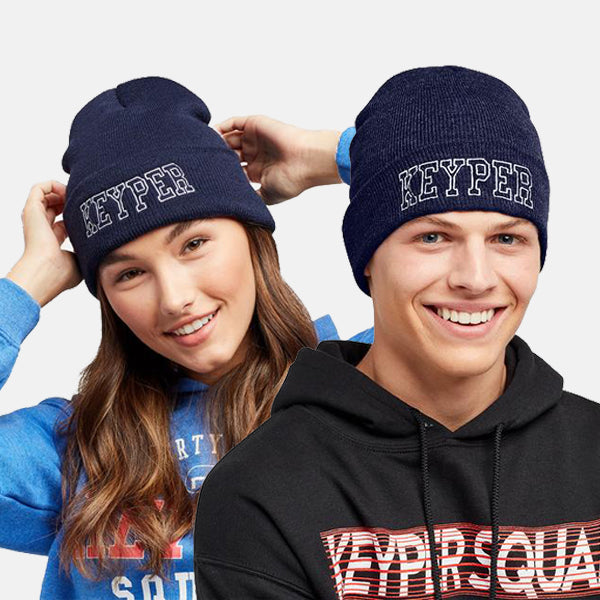 NAVY EMBROIDERED UNIVERSITY BEANIE