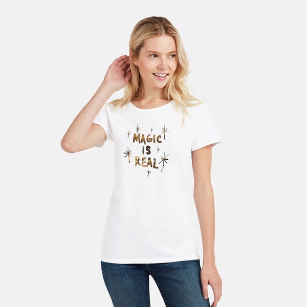 GIRLS WHITE MAGIC IS REAL GOLD FOIL TEE