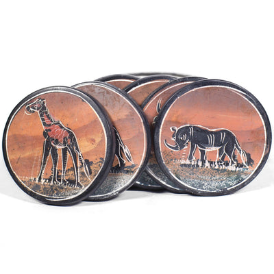 Rwandan Ceramic Coaster Set