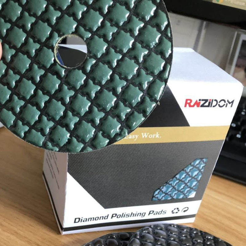 "Raizidom 4"" Premium 5 Step Diamond Dry Polishing Pads For Granite"