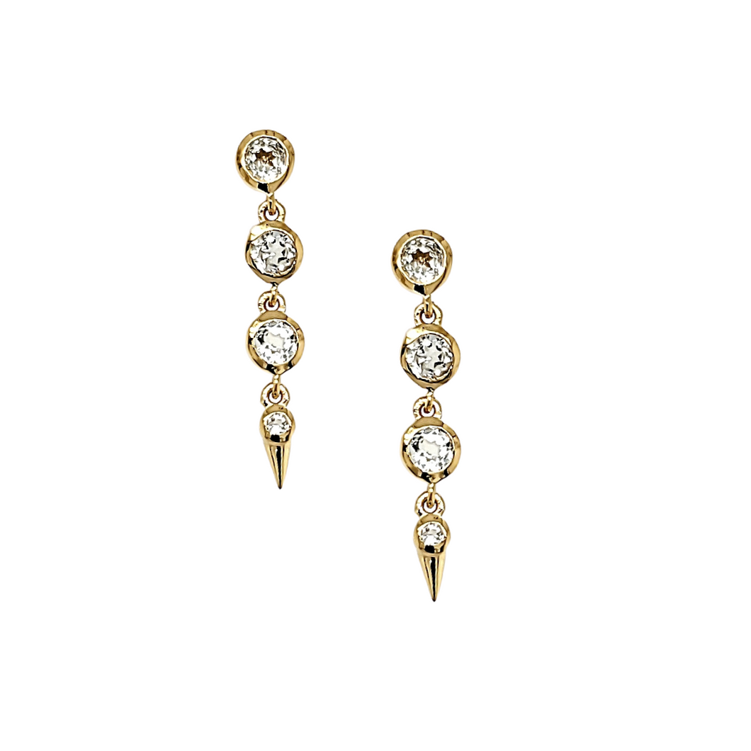 Medium Spike Earrings in White Topaz