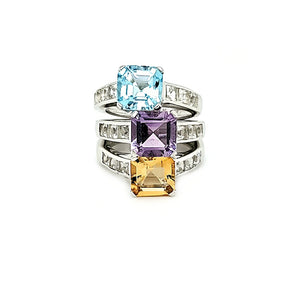Asscher Cut Ring in Amethyst