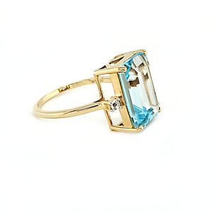 14K Emerald Cut Blue Topaz Ring
