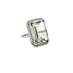 Portrait Ring in Prasiolite and White Topaz