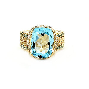 Statement Cushion Ring in Blue Topaz, Swiss Blue Topaz and White Topaz