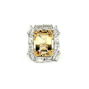 Double Portrait Ring in Citrine and White Topaz