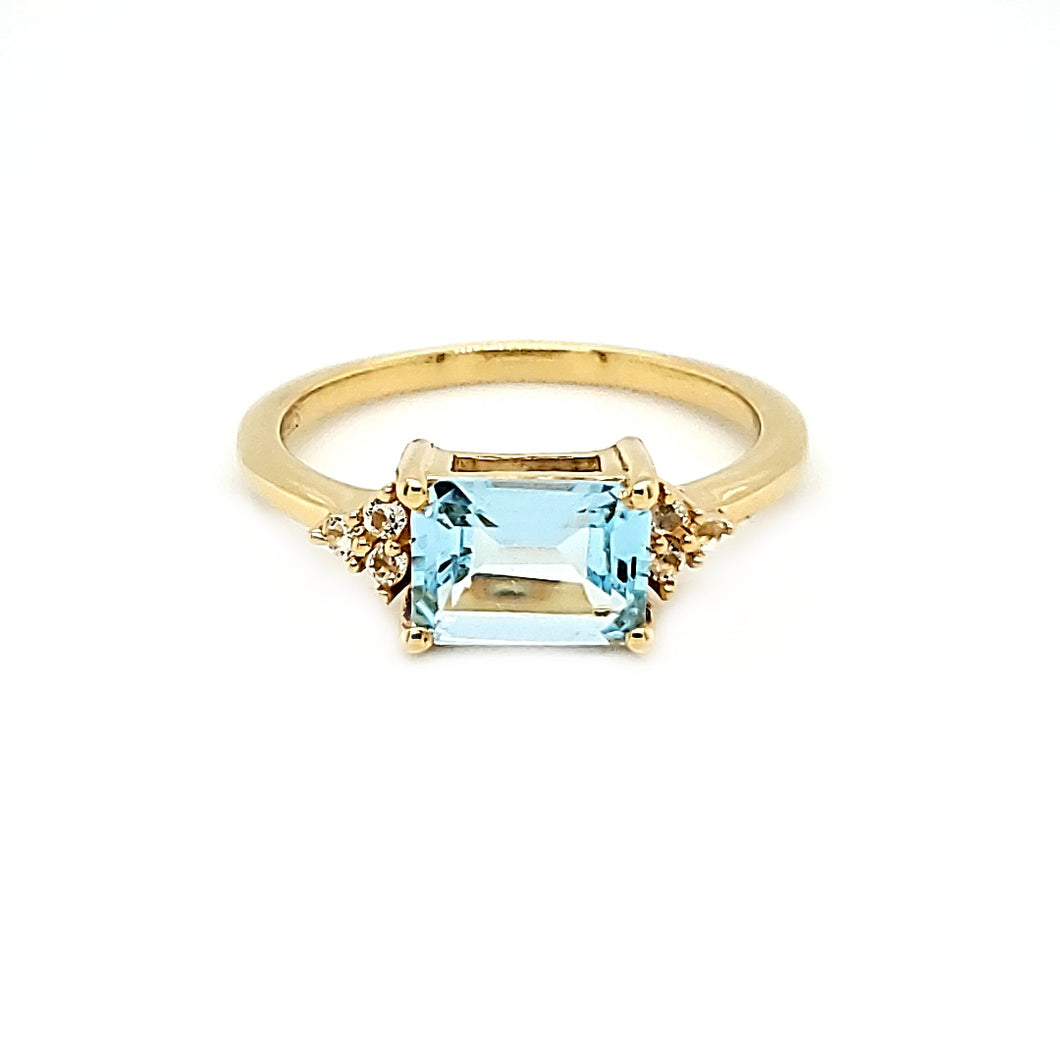 East West Accent Ring in Blue Topaz