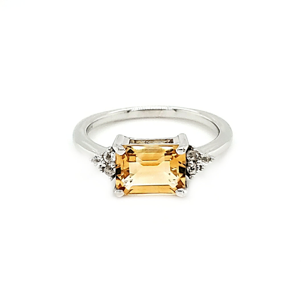 East West Accent Ring in Citrine