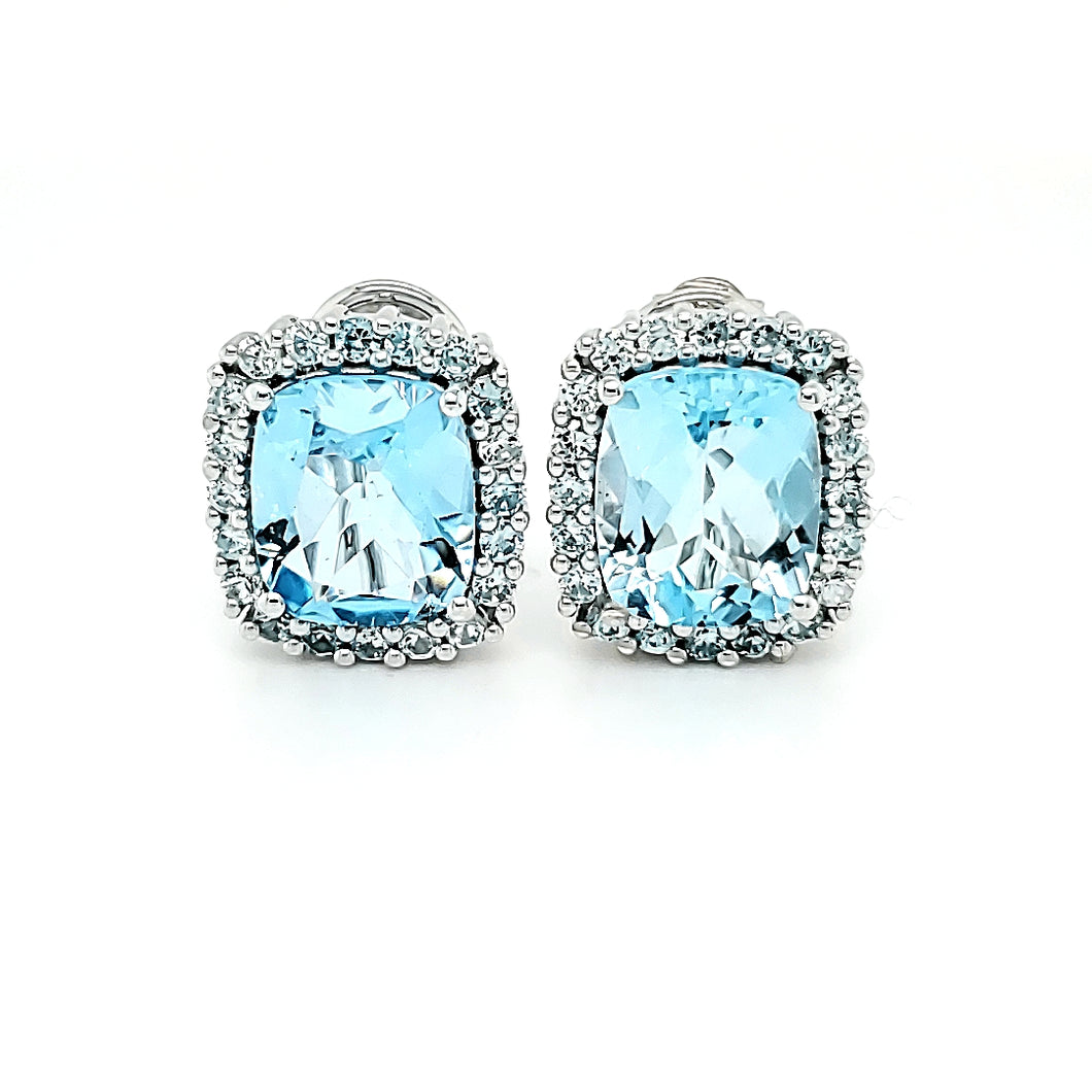 Portrait Studs in Blue Topaz