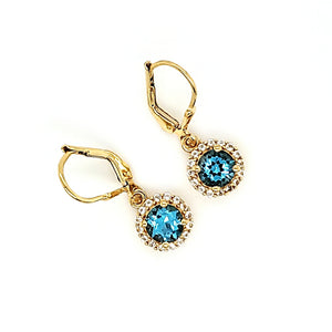Pop Accent Earrings in Swiss Blue Topaz