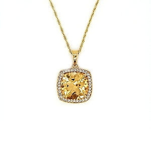 Cushion Cut Pendant in Citrine