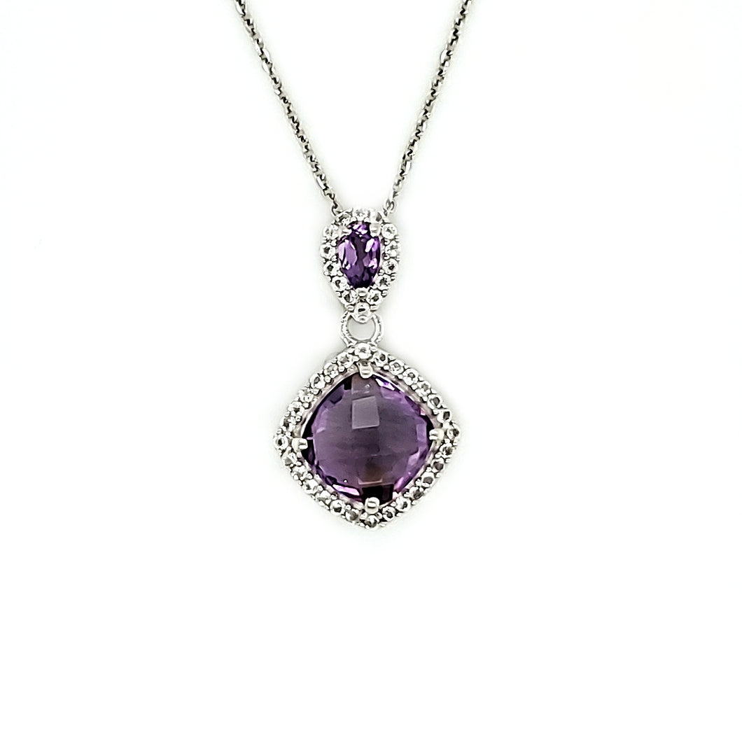 Cushion Cut Accent Pendant in Amethyst