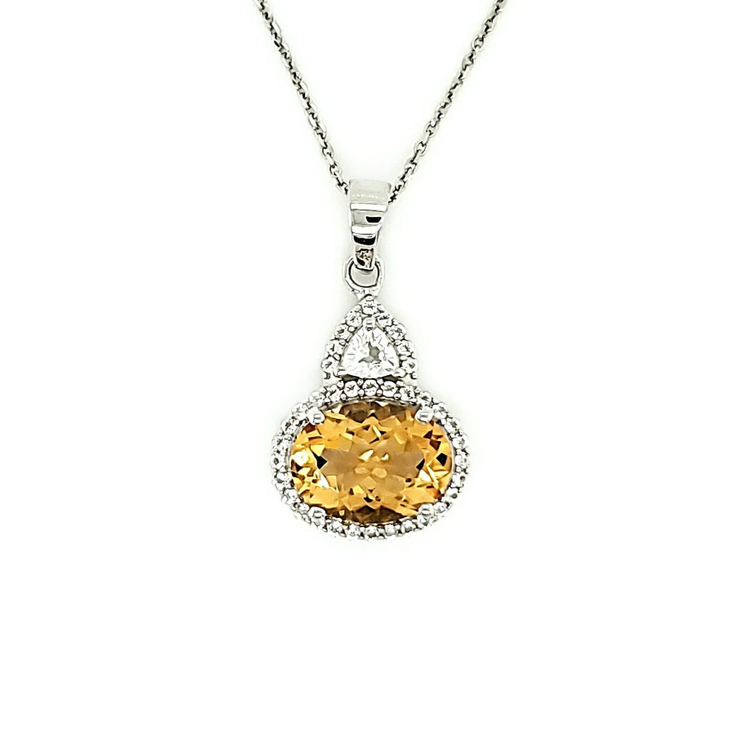 Oval Cut Pendant in Citrine