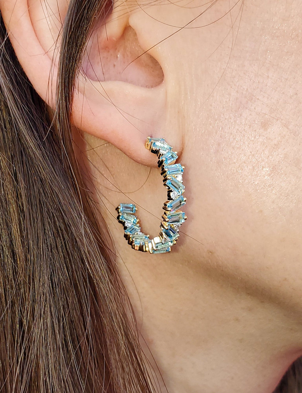 18K Swiss Blue Topaz and Diamond Hoop Earrings