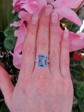Load image into Gallery viewer, 14K Emerald Cut Blue Topaz Ring