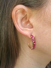 Load image into Gallery viewer, 18K Ruby and Diamond Hoop Earrings