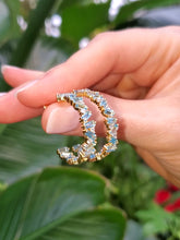 Load image into Gallery viewer, 18K Swiss Blue Topaz and Diamond Hoop Earrings