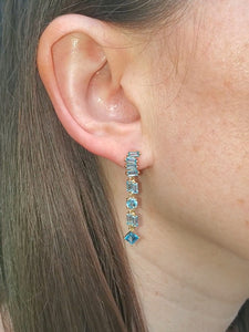 18K Swiss Blue Topaz Drop Earrings