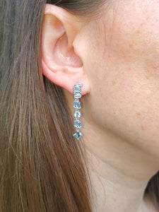 18K Aquamarine Drop Earrings