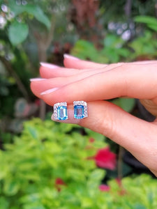 18K Swiss Blue Topaz and Diamond Stud Earrings