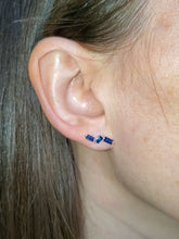 Load image into Gallery viewer, 18K Blue Sapphire Wave Stud Earrings