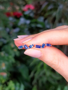 18K Blue Sapphire Wave Stud Earrings