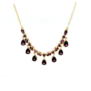 Station Necklace in Rhodolite