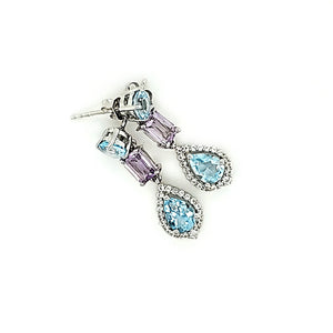 Laya Earrings in Amethyst and Blue Topaz
