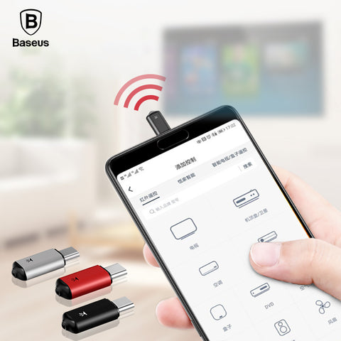 Baseus Mini Keychain Remote Control For Samsung Huawei Type-C USB C Interface Smart IR Controller Adapter For TV aircondition