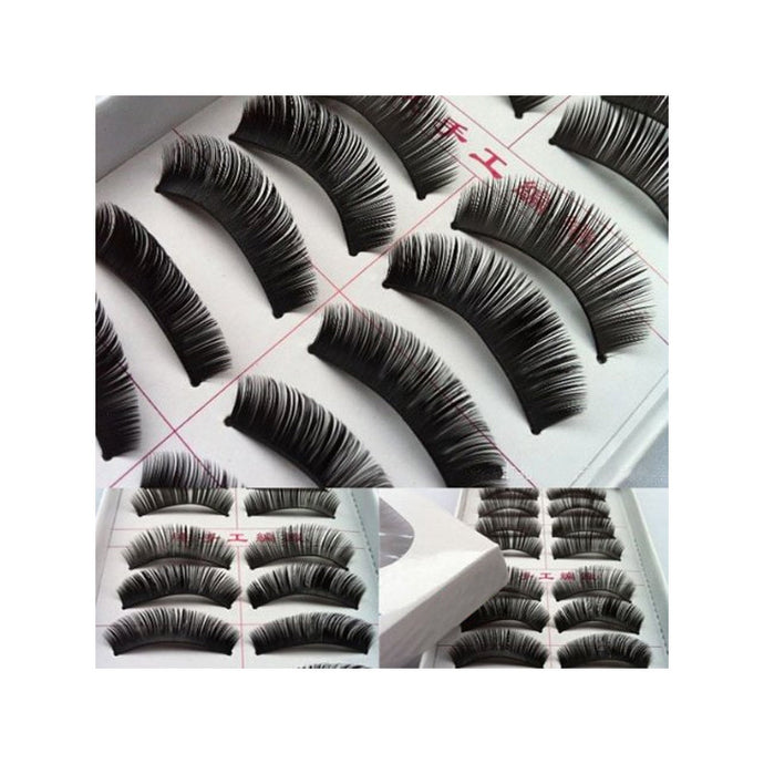 10 Pairs of Handmade Soft Long Nature Voluminous False Eyelashes Makeup Eye lashes