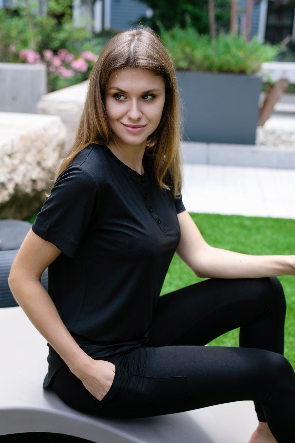 Black Button Tee
