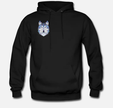 Black Abstract Wolf Hoodie