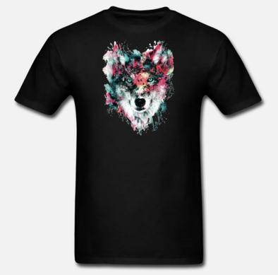 Black Simple Wolf T-shirt