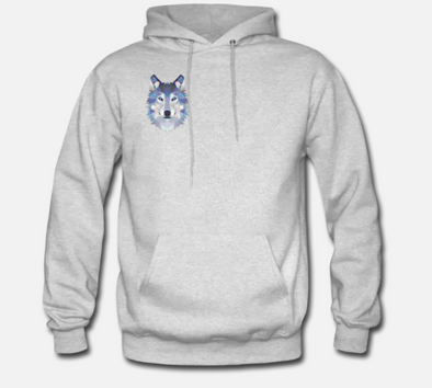 Gray Abstract Wolf Hoodie