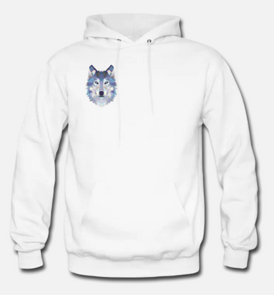 White Abstract Wolf Hoodie