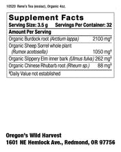 Oregon's Wild Harvest Non-GMO, Organic Rene's (Essiac) tea Cut-and-Sift 4oz Supplement Facts