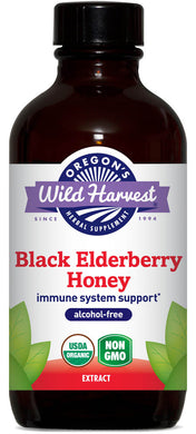Black Elderberry Honey, Organic Alcohol-Free 4 oz.