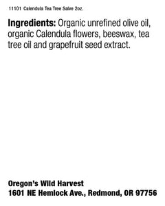 Oregon's Wild Harvest Calendula Tea Tree Salve Supplement Facts