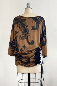 Bubble Silk Poncho - Black/Gold