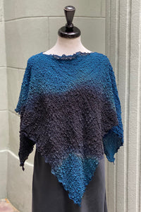 Bubble Silk Poncho Black/Teal