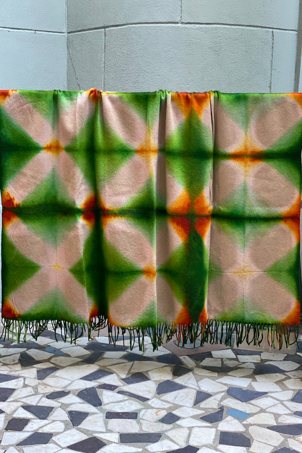 Cashmere Throw - Itajime Dyed Tan/Green