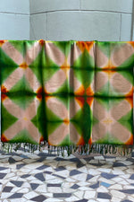 Load image into Gallery viewer, Cashmere Throw - Itajime Dyed Tan/Green