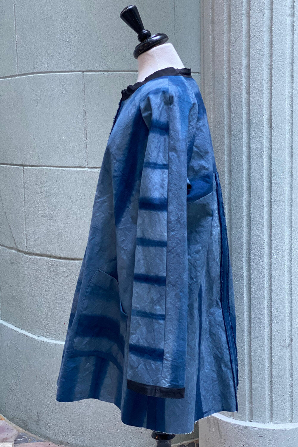 Juno Coat Indigo Itajime Striped - Large