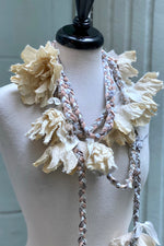 Load image into Gallery viewer, Braided Lariat w/ Flowers - Silver & White