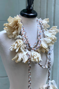 Braided Lariat w/ Flowers - Silver & White