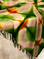 Load image into Gallery viewer, Fringed Throw Blanket - Itajime Dyed Tan/Green