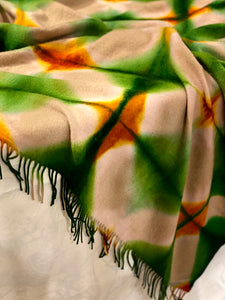 Fringed Throw Blanket - Itajime Dyed Tan/Green