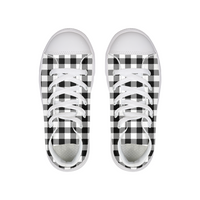 Black and White Plaid Kids Hightop Canvas Shoe