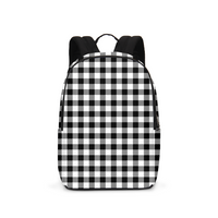 Black and White Plaid Large Backpack