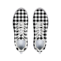Black and White Plaid Athletic Shoe